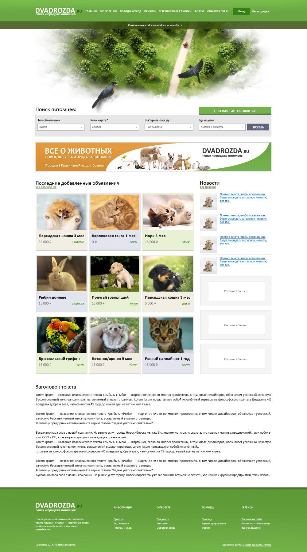 Создание портала о животных ДваДрозда, г. Москва
